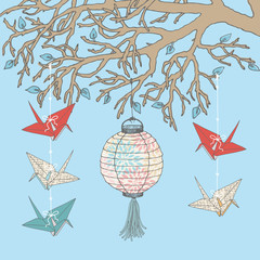 Paper Cranes and Paper Lantern