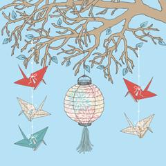 Paper Cranes and Paper Lantern