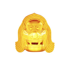 The Thai golden lion head  on white background