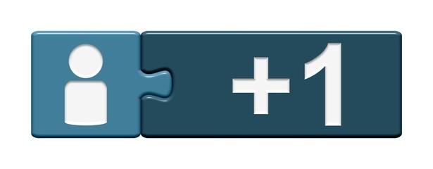 Puzzle-Button blau: +1