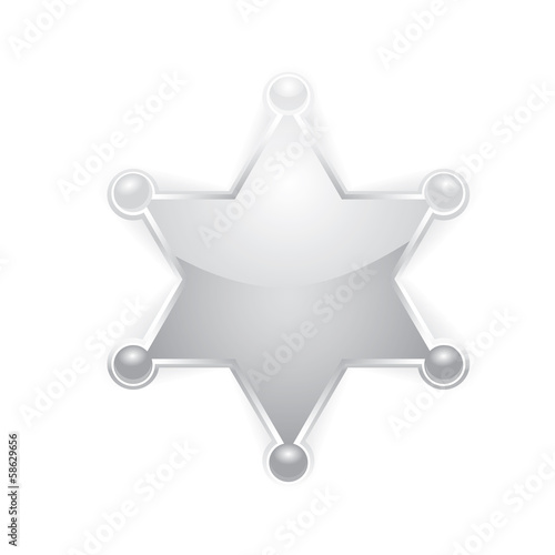 vector silver police star badge . six-pointed star