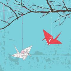 Two Paper Cranes