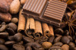 chocolate with coffee beans, spices and cacao