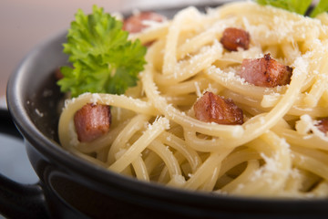 Pasta Carbonara with bacon and cheese