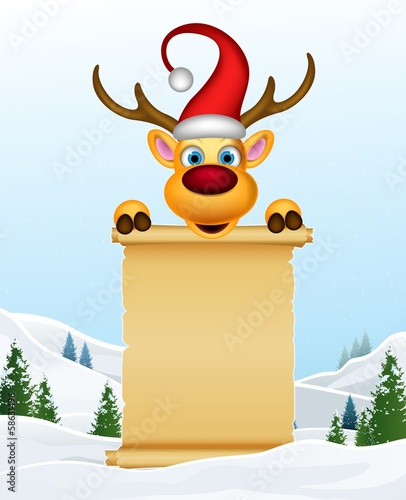christmas deer with blank sign