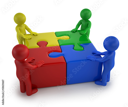 3d small people - Males with four puzzle together