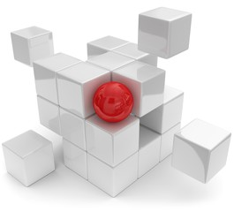 abstrakte Würfel mit roter Kugel