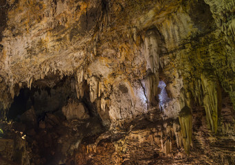 Wonder Cave Interior with Stalactites and Stalagmites