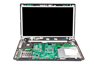 Laptop half disassembled front view