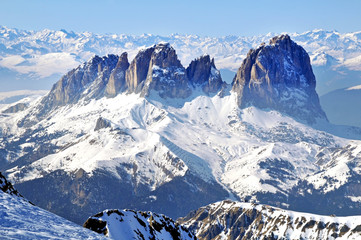 Winter view of snowy mountains in the Dolomites. Italy