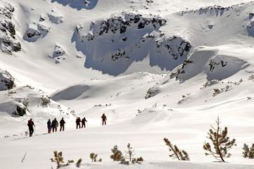 Hiking in wintertime. Retezat mountains, Carpathians, Romania