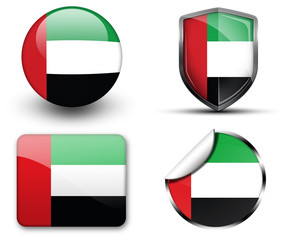 United Arab Emirates flag button sticker and badge