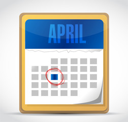 april calendar illustration design