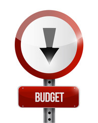 budget going down road sign illustration