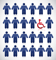 handicap in the middle of a set of people