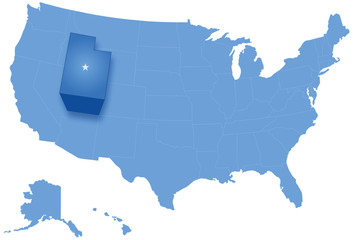 Map of States of the United States where Utah is pulled out