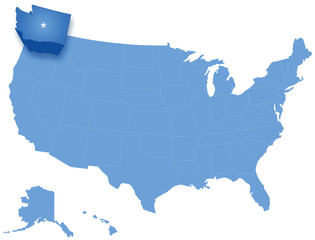 Map of  the United States where Washington is pulled out
