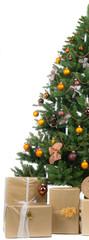 angeschnittener christbaum geschmückt