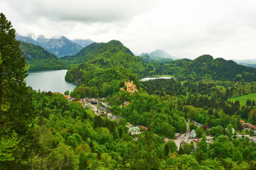 Landscape with castle of Hohenschwangau in Germany