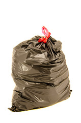 isolated full black garbage bag in white background