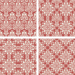 set of Red vintage seamless pattern for gift wrapping