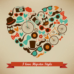 I Love Hipster Style Icon Set. Vector Illustration