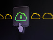 Cloud computing concept: Cloud With Padlock on digital screen