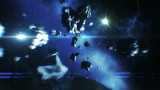 Beautiful flight in space near Asteroids collisions. HD 1080.