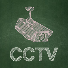Protection concept: Cctv Camera and CCTV on chalkboard