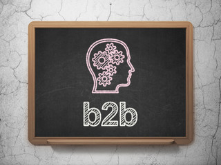 Finance concept: Head With Gears and B2b on chalkboard