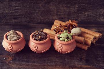 Spices: cardamom, cinnamon, cloves, star anise and nutmeg