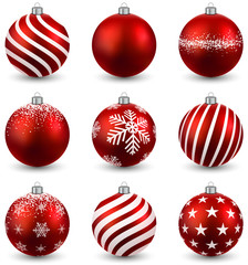 Set of realistic red christmas balls.