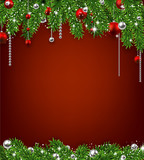 Fototapety Christmas background with fir branches and balls.