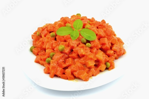 boiled carrots and peas