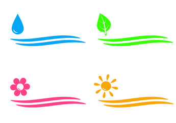 natural icons with water drop, sun, flower and leaf