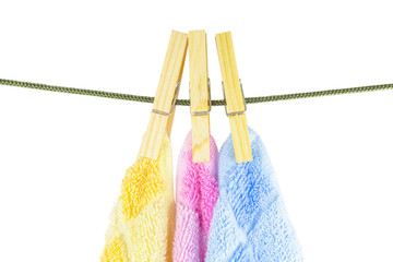 Towels hanging to dry from a clothes line