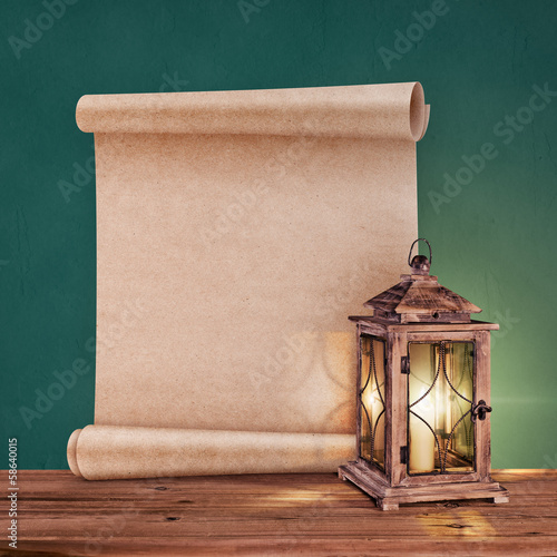 Poster vintage lantern with antique scroll on green background