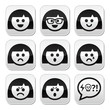 Smiley girl or woman faces, avatar vector buttons set
