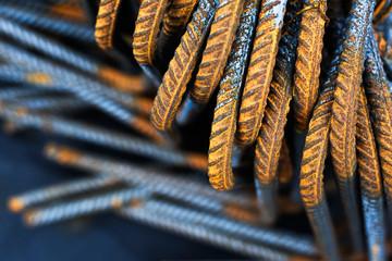 Baustahl Armierung Eisen auf Baustelle
