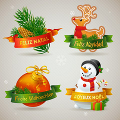 Merry Christmas icons in different languages: Portuguese, Spanis
