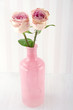 Two pink roses in a glass bottle