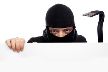 thief or burglar man isolated over white