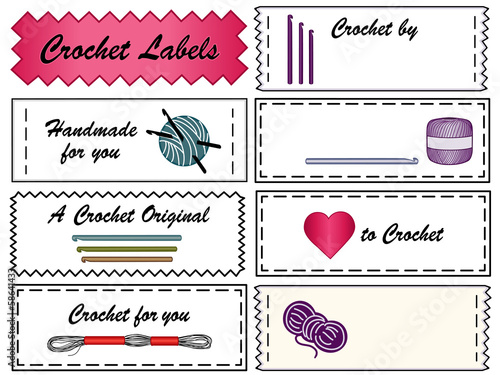 Crochet Sewing Labels, copy space, yarn, hooks, do it yourself