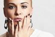 Beautiful woman in woolen dress.accessories.manicure