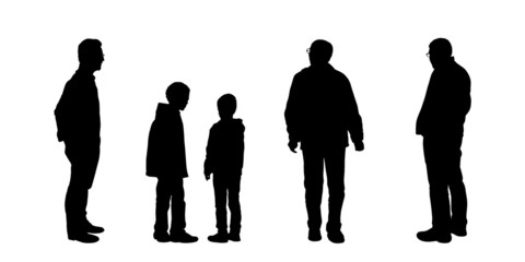 silhouettes of men looking on something set 2