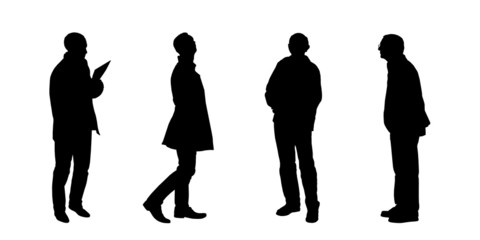 silhouettes of men looking on something set 1