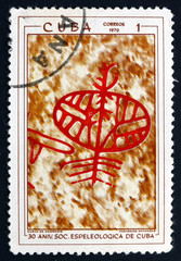 Postage stamp Cuba 1970 Petroglyphs in Cuban Cave