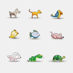 Cute cartoon pets icons