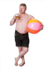 Overweight middle aged man with beach ball drinking beer