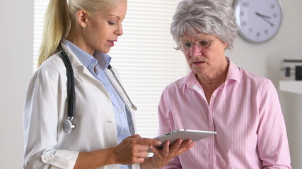 Female doctor talking to patient using tablet computer